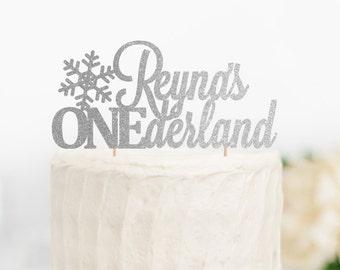 Custom ONEderland Birthday Topper, Winter Wonderland Cake Topper, Onederland Party Decor, First Birthday Cake Topper, 1st Birthday Topper