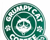 DIY Grumpy Cat Coffee Vinyl Decal, Choose Vinyl Color, Choose Size, Car Window Decal, Laptop Decal, Coffee Cup Decal, Coffee Lovers,