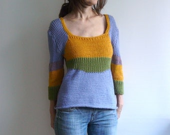 cotton knit pullover color block three- quarter sleeves