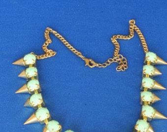 Green Spiky Necklace - Mid Century Costume Jewellery