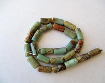 """Sea Sediment Jasper Beads, Blue Jasper Tube Beads, Natural Jasper Tube Beads, 16x8, 17"""" strand, center drilled on long axis"""