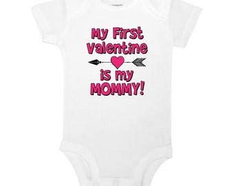 My First Valentine Is My Mommy Cute Funny Valentines Day Baby One Piece Bodysuit Toddler Children's Kids T-shirt