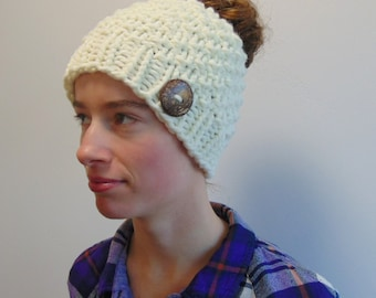 Knit Messy Bun Hat - Bun Hole Hat - Beanie with Hole - Made in Alaska - Winter Hat - Chunky Knit - Ivory Moss Stitch