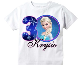 Elsa Frozen Birthday Shirt Any Age Personalized Shirt  Youth Toddler Infant Adult p44