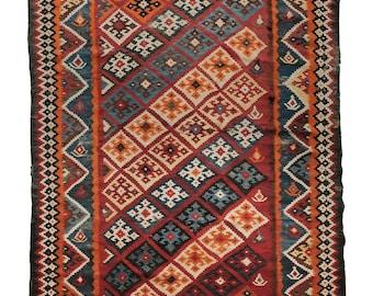 """Antique Qashqai Kilim Rug - circa 1900 / 8'6"""" x 5'3"""" / 264 x 164cm"""