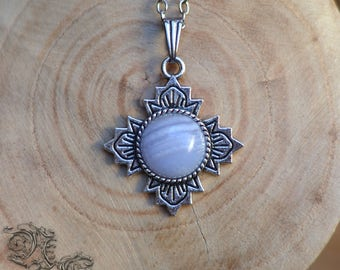 "Necklace ""Sanctuary"" - Chalcedony - Medieval, celtic, pagan, renaissance, baroque, viking, gothic"