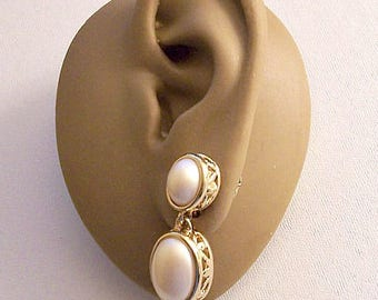 Avon Double White Pearl Clip On Earrings Gold Tone Vintage Ribbed Open Cage Bottom Domed Oval Bead Long Dangles
