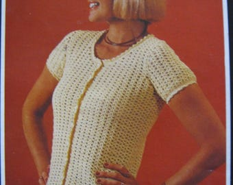 Lady's Cardigan Crochet Pattern PDF Instant Download My First Crochet Learn How To Crochet Short Sleeve Cardigan