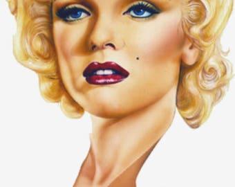 Marilyn Monroe illustration,Artistic Inspiration,Vintage Reproduction Print, Beautiful Home Decor,for Marilyn Monroe Fan