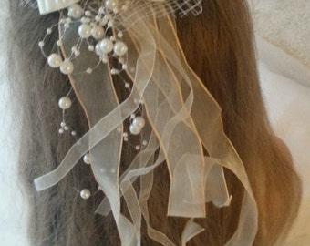 Flower Girl Bridesmaid First Communion Hair Accessory Diamante Applique with Satin & Organza Bow