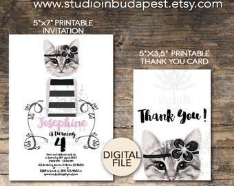 Cat Birthday invitation, Cat birthday, printable girl birthday, digital invitation printable, cat birthday party, Printable cat invitation