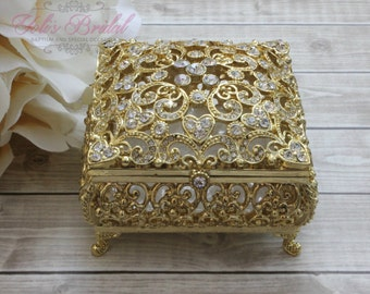 Beautiful Swarovski Crystal Box, Wedding Ring Box, Wedding Arras,