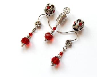 Sisterlock Jewelry, Hair Jewelry, Valentines gifts, Hair Beads, Dreadlock Beads Set, Earrings, Loc Jewelry, Womens Gift, Hair Accessories