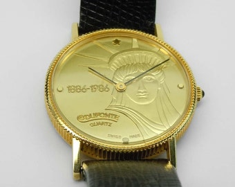 Vintage Gold Tone Stainless Lucien Piccard Dufonte Statue Liberty Centennial Coin Watch