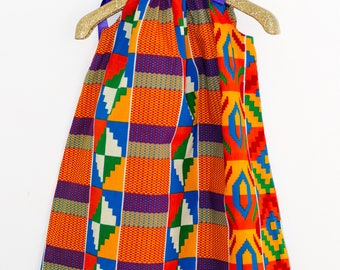 Pillowcase dress, multicoloured dress, toddler dress, girl dress, red dress, african print dress, kente, summer dress, red, yellow,