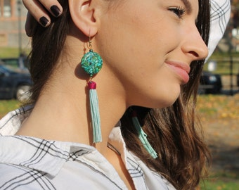 Fringes earrings, Turquoise fringes, Fabric earrings, Large earrings, Turquoise earrings, ethnic earrings, Statement earrings, gifts for her
