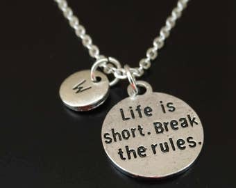 Mark Twain Necklace, Quote Charm, Quote Pendant, Quote Jewelry, Mark Twain, Life is short break the rules. Inspirational Quote Necklace