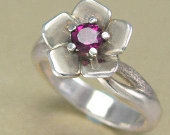 White Gold Flower Engagement Ring