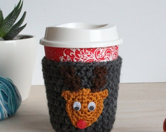 Crochet Christmas Coffee Cup Cozy - Coffee Cup Sleeve - Travel Mug Warmer - Reusable Coffee Cup Sleeve - Crochet Cup Cozy - Cup Warmer