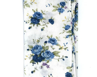 HSQ1145 - White and Blue Floral Print Hand Rolled Cotton Pocket Square, Hankie, Handkerchief