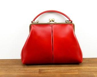 """Leather Handbag """"Olive"""" in red, vintage ladies bag, leather handle bag, leather bag, handmade!"""