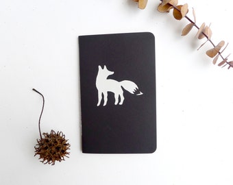 Fox Jotter Notebook / Woodland Animal Pocket Journal / Plain or Graph Paper