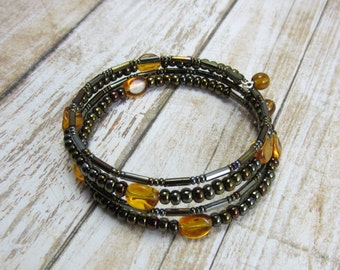 Boho Wrap Bracelet, Everyday Bracelet, Brown Memory Wire Bracelet, Yellow and Brown Beaded Bangle, Gift for Friend Girl