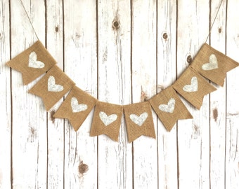 Burlap Hearts Banner / Rustic Wedding Sign / White Hearts / Backdrop / Photobooth