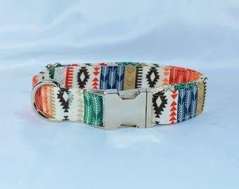 Tribal Aztec Arrows - Adjustable Dog Collar - Martingale or Buckle, Personalized, Engraved, ID Buckle