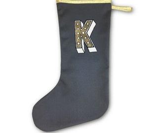 Christmas Personalised Stocking- Monogram Holiday decoration, Custom initial xmas. Alphabet present in grey, gold. Handmade in U.K