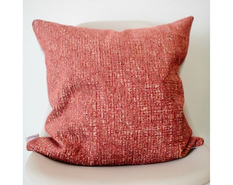 "20"" x 20"" Pink/Orange Throw Pillow Cover (Brown Back) - COVER ONLY"