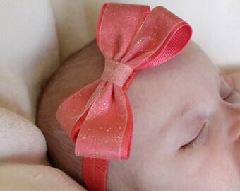 Coral/Pink headband, baby headband, infant headband, toddler headband