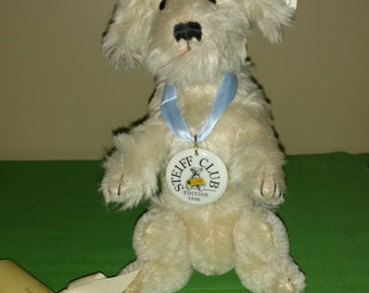 "STEIFF ""1996 Club Poodle"", Beautiful Cream Mohair Tail Wags Her Head, 11"""