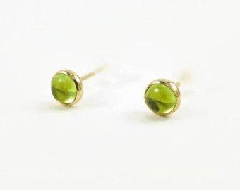 peridot gold studs, peridot stud earrings, green studs, goldfill peridot studs, goldfill studs, gold green studs, green birthstone earrings