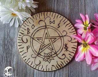Altar Tile, Spring Pentacle, Spring Sabbat, Ostara & Beltane, Spring Equinox, Beltaine, Altar Tool, Hearth Tile, Pagan Altar, Sacred Space