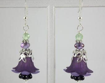 Silver Green and Purple Lucite Flower and Czech Glass Beaded Earrings