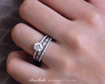 1.5 ct.tw Art Deco Bridal Set Ring-Brilliant Cut Diamond Simulants-Engagement Ring W/ Two Half eternity Ring-Sterling Silver [65185-3-1]