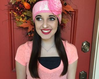 Pink Headband w/ Pink Rose