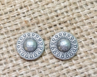 Concho Stud Earrings, Concho Earrings, Silver Concho Studs, Western Jewelry, Cowgirl Concho Studs, Western Concho Studs, Boho Concho Studs