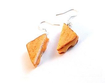 Grilled Cheese Dangle Earrings, Miniature Food Jewelry