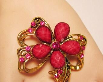 Vintage, Red Rhinestone, Goldtone, Flower,  Brooch/Pin.      (#528)