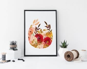 Watercolor flowers wall art, botanical art print, floral poster, nature, leaf art, gift, vintage illustration, home decor, vintage, peach,