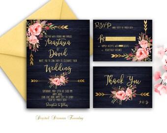 Navy Blue Wedding Invitation Printable Gold Wedding Floral Wedding Invitation Suite Rustic Wedding Country Wedding Invitation Boho Wedding