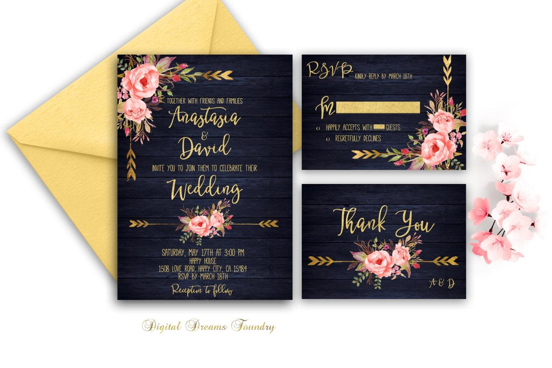 Blue Wedding Invitation: Navy Blue Wedding Invitation Printable Gold Wedding Floral