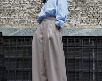 Pure virgin wool pleated palazzo pants