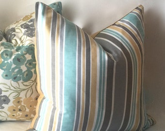Stripe Teal Pillow, Gold Throw Pillow, Decorative Pillows, Gold Pillow Cover 18 x 18 22 x 22, Throw Pillows, Housewares Decor, 0004