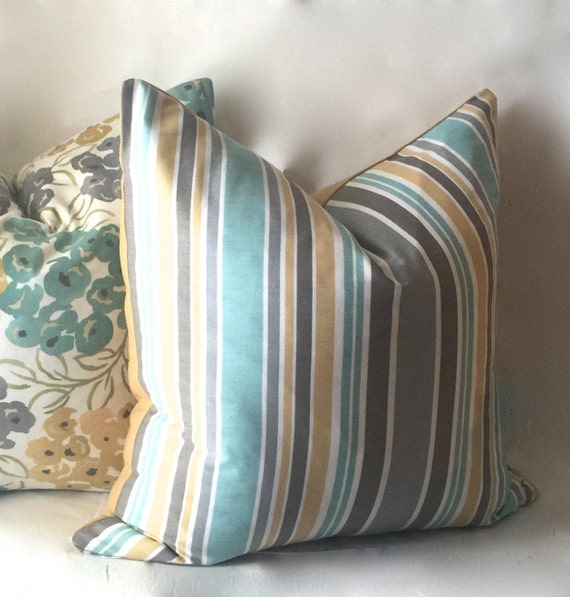 Stripe Teal Pillow Gold Throw Pillow Decorative Pillows
