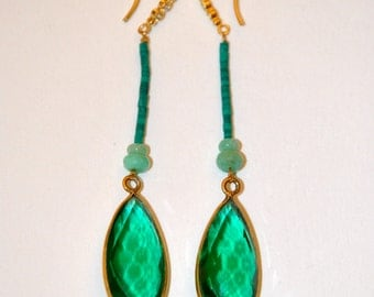 Earring green Quartz, micro Turquoises and Chrysoprases