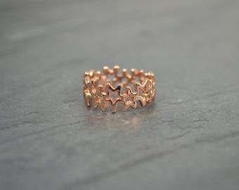 Rose Gold Star Ring - Gold Stellar Celestial  Starry Band - Ring of Stars