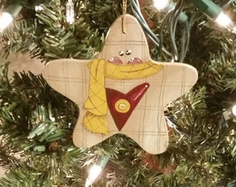 Gingerbread Star Wood Ornament